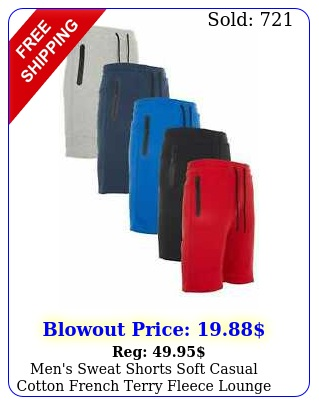 men's sweat shorts soft casual cotton french terry fleece lounge gym workout fi