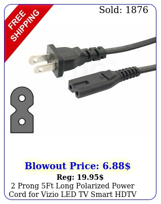 prong ft long polarized power cord vizio led tv smart hdtv ac wall cabl