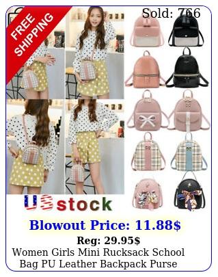 women girls mini rucksack school bag pu leather backpack purse travel handbag u