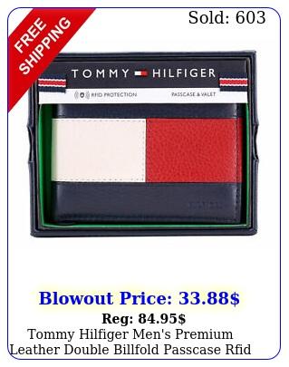 tommy hilfiger men's premium leather double billfold passcase rfid wallet nav