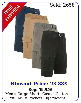 mens cargo shorts casual cotton twill multi pockets lightweight outdoor belte