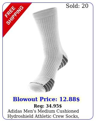 adidas men's medium cushioned hydroshield athletic crew socks color option