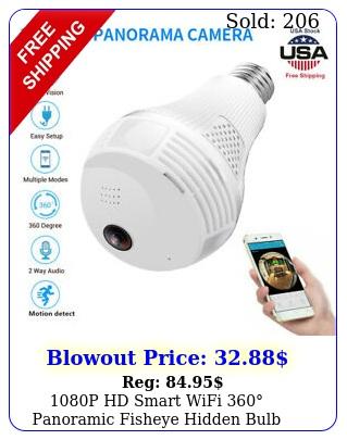 p hd smart wifi panoramic fisheye hidden bulb light spy camera lam