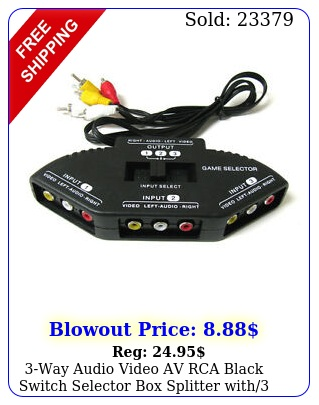 way audio video av rca black switch selector splitter with rca cabl