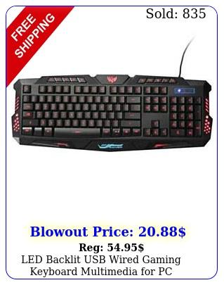 led backlit usb wired gaming keyboard multimedia p