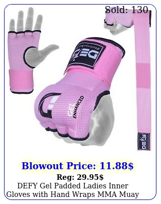 defy gel padded ladies inner gloves with hand wraps mma muay thai pink s to x