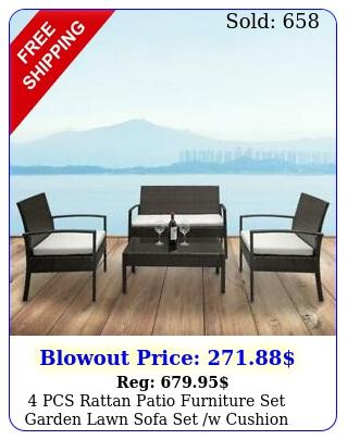 pcs rattan patio furniture set garden lawn sofa set w cushion seat mix wicke