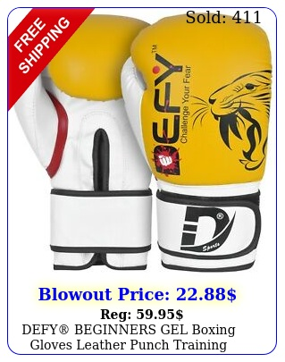defy beginners gel boxing gloves leather punch training kickboxing mma yello
