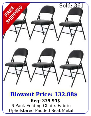 pack folding chairs fabric upholstered padded seat metal frame furniture blac