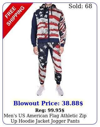 men's us american flag athletic zip up hoodie jacket jogger pants tracksuit se