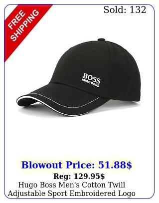 hugo boss men's cotton twill adjustable sport embroidered logo hat ca