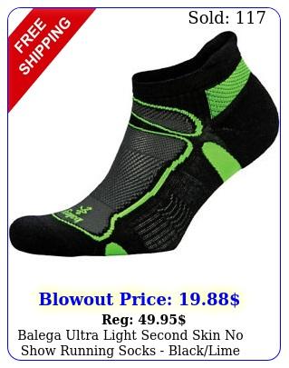 balega ultra light second skin no show running socks blacklim