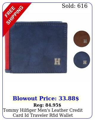 tommy hilfiger men's leather credit card id traveler rfid wallet t