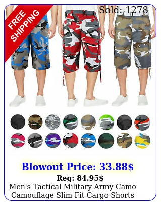 men's tactical military army camo camouflage slim fit cargo shorts with bel