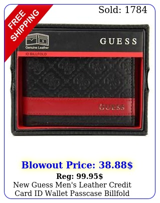 guess men's leather credit card id wallet passcase billfold black gu