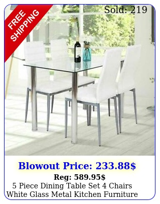 piece dining table set chairs white glass metal kitchen furnitur