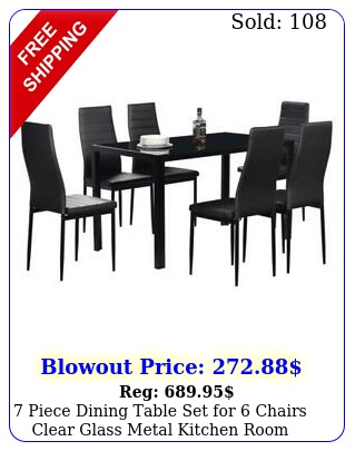 piece dining table set chairs clear glass metal kitchen room breakfas