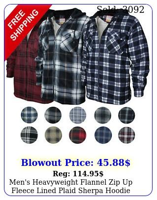 men's heavyweight flannel zip up fleece lined plaid sherpa hoodie jacke