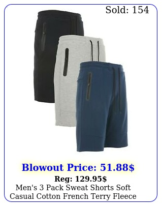 men's pack sweat shorts soft casual cotton french terry fleece lounge gym fi
