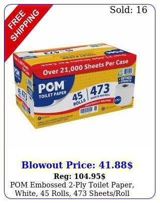 pom embossed ply toilet paper white rolls sheetsrol