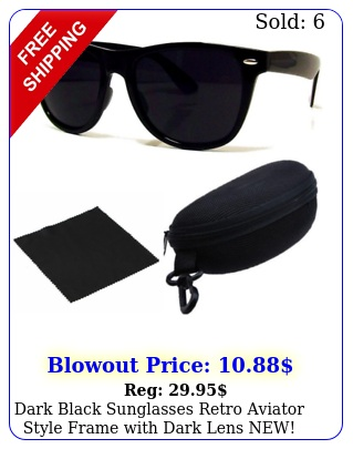 dark black sunglasses retro aviator style frame with dark lens new free cas