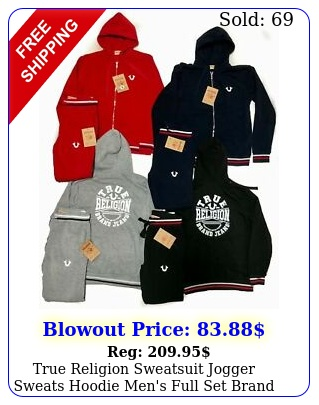 true religion sweatsuit jogger sweats hoodie men's full set bran