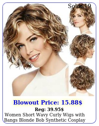 women short wavy curly wigs with bangs blonde bob synthetic cosplay party wig u