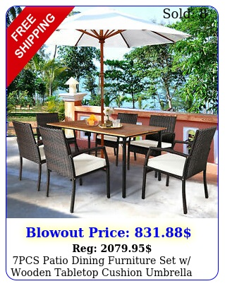 pcs patio dining furniture set w wooden tabletop cushion umbrella hol
