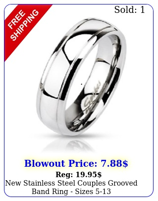 stainless steel couples grooved band ring size