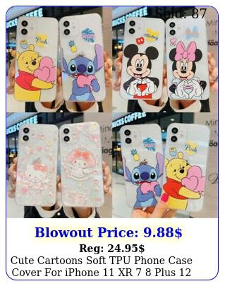 cute cartoons soft tpu phone case cover iphone xr  plus pro max s