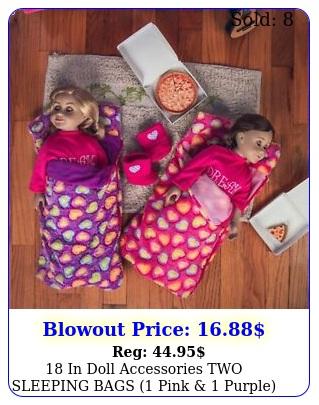 in doll accessories two sleeping bags pink  purple fits american gir
