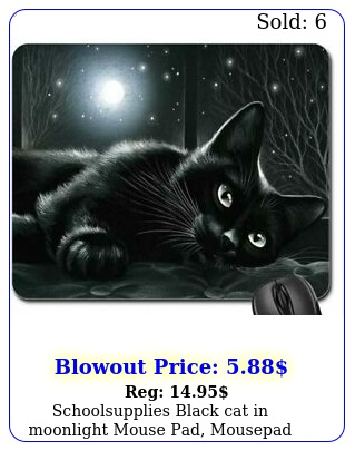 schoolsupplies black cat in moonlight mouse pad mousepad cats pac