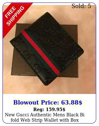 gucci authentic mens black bi fold web strip wallet wit