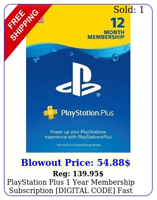 playstation plus year membership subscription digital code fast deliver