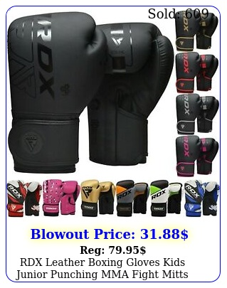 rdx leather boxing gloves kids junior punching mma fight mitts children youth u