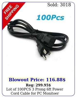 lot of pcs  prong ft power cord cable pc monitoer computer printe