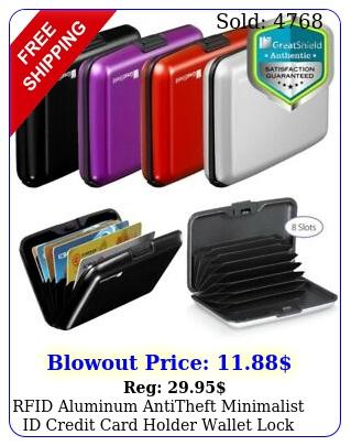 rfid aluminum antitheft minimalist id credit card holder wallet lock case slo