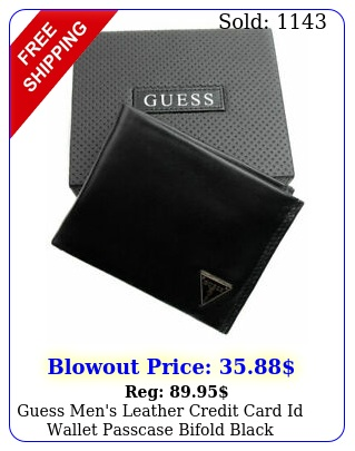 guess men's leather credit card id wallet passcase bifold black gu