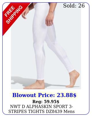 nwt d alphaskin sport stripes tights dz mens white athleti