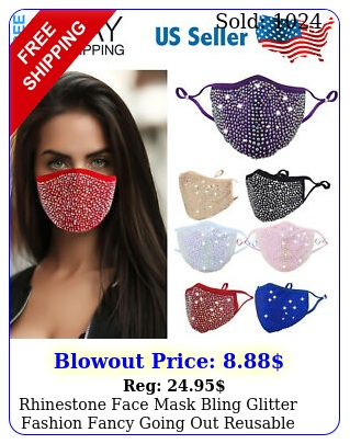 rhinestone face mask bling glitter fashion fancy going out reusable face cove