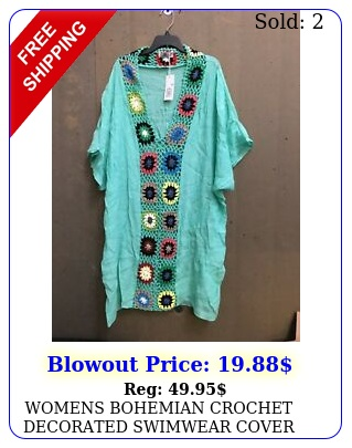 womens bohemian crochet decorated swimwear cover up one size gree