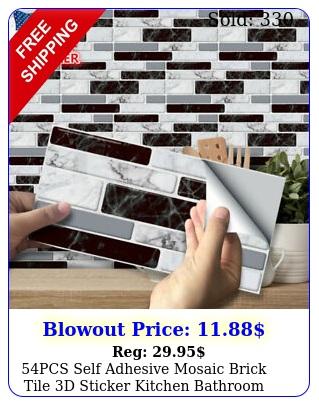 pcs self adhesive mosaic brick tile d sticker kitchen bathroom wall sticker