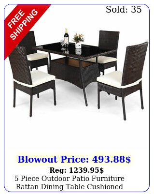 piece outdoor patio furniture rattan dining table cushioned chairs se
