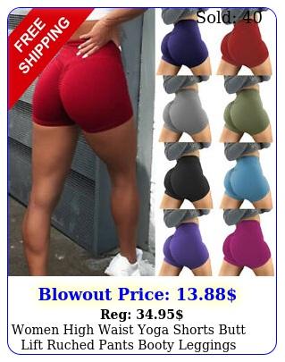 women high waist yoga shorts butt lift ruched pants booty leggings workout gym