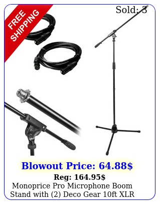 monoprice pro microphone boom stand with deco gear ft xlr cables bundl
