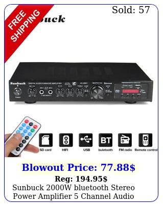 sunbuck w bluetooth stereo power amplifier channel audio amp hifi f