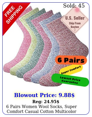 pairs women wool socks super comfort casual cotton multicolor size fw