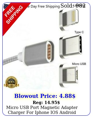 micro usb port magnetic adapter charger iphone ios android type c cabl
