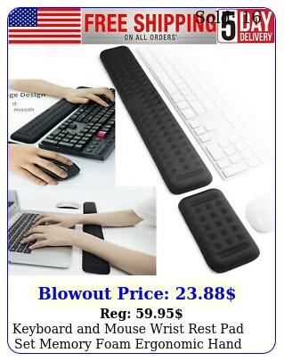 keyboard mouse wrist rest pad set memory foam ergonomic hand palm suppor
