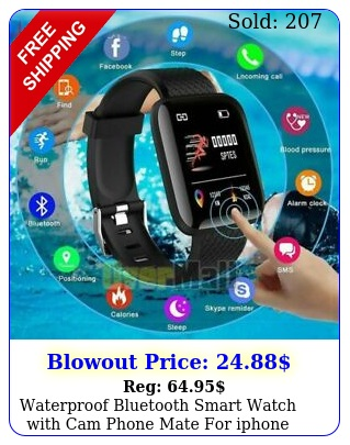 waterproof bluetooth smart watch with cam phone mate iphone ios android l